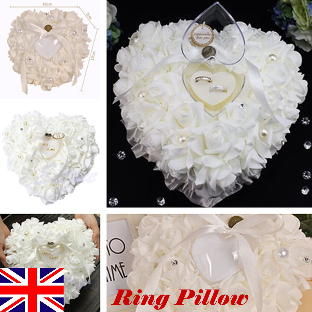 Favor Heart Shaped Wedding Ring Box Ring Bearer Pillow Cushion Gift  Decor