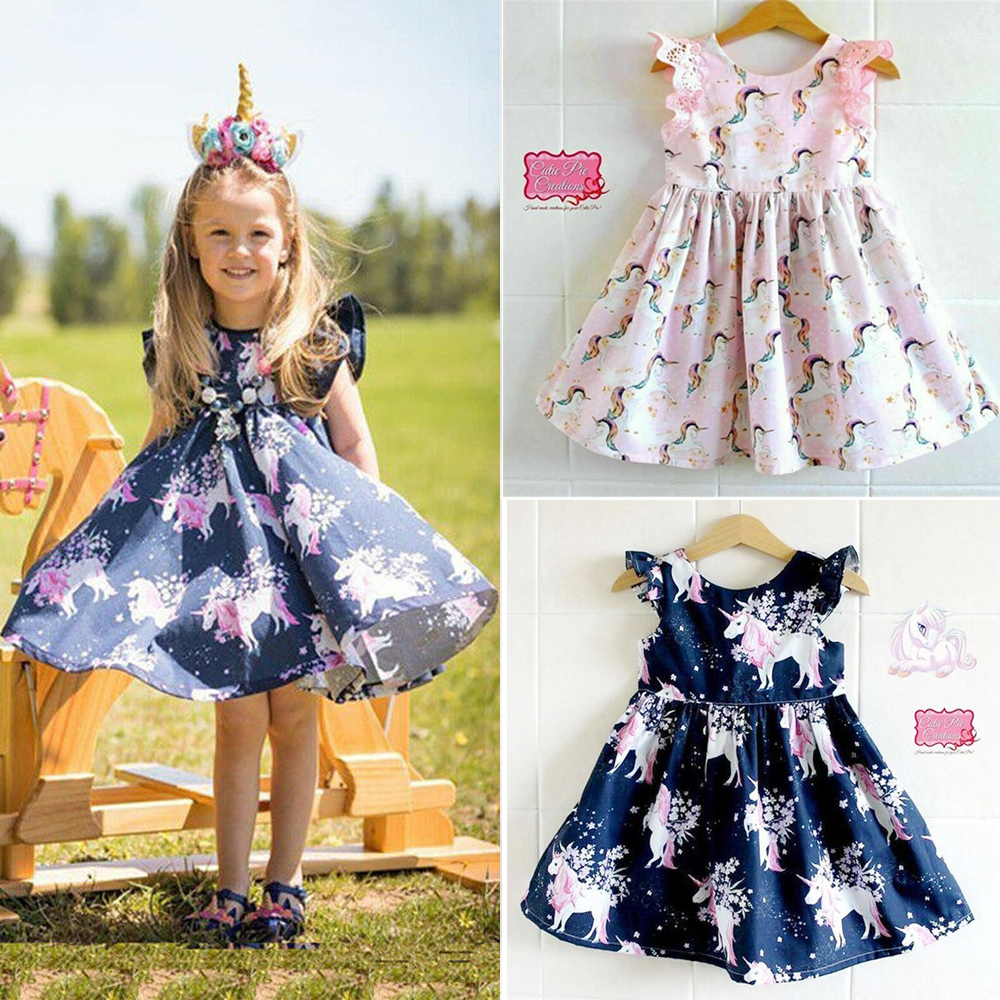 Cute Kids Baby Girls Unicorn Cartoon Party Pageant Formal Dress Sundress Clothes