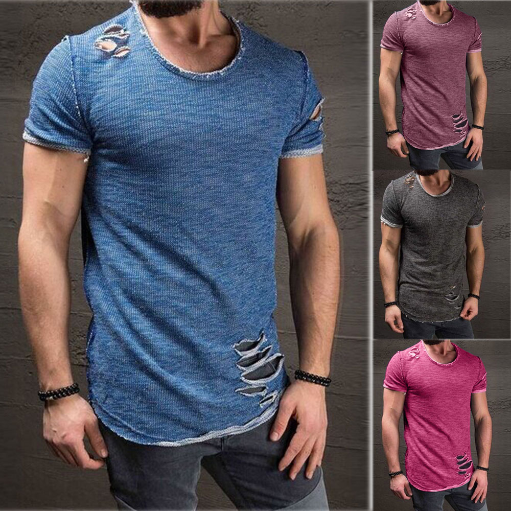 Fashion Men`s Casual Slim Fit t shirt  Muscle Tops Casual Body Building t-shirt