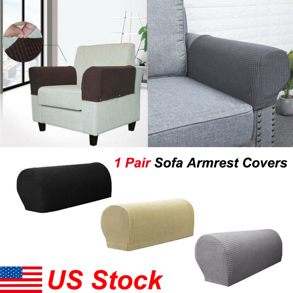 2Pcs Armrest Covers Stretchy Set Chair and Sofa Arm Protectors Stretch to Fit US