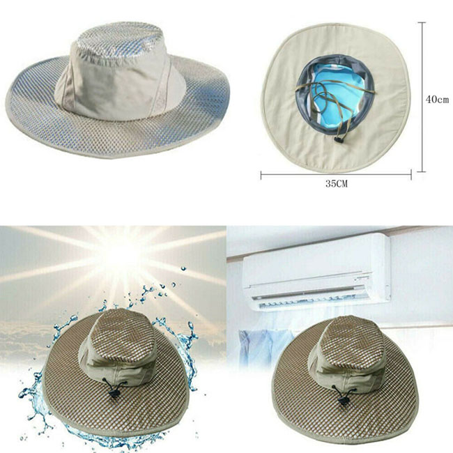 7205a891a Details about Ice Cap Sunscreen Evaporative Cooling Bucket Hat Beige UV  Protection Outdoor USA