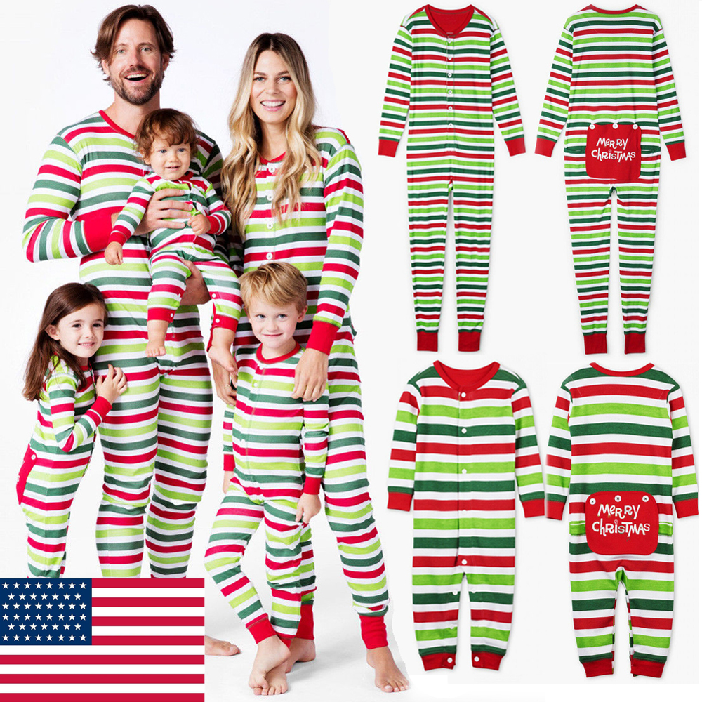 Christmas Pjs.Details About Family Matching Adult Kids Striped Christmas Pyjamas Nightwear Pajamas Pjs Sets