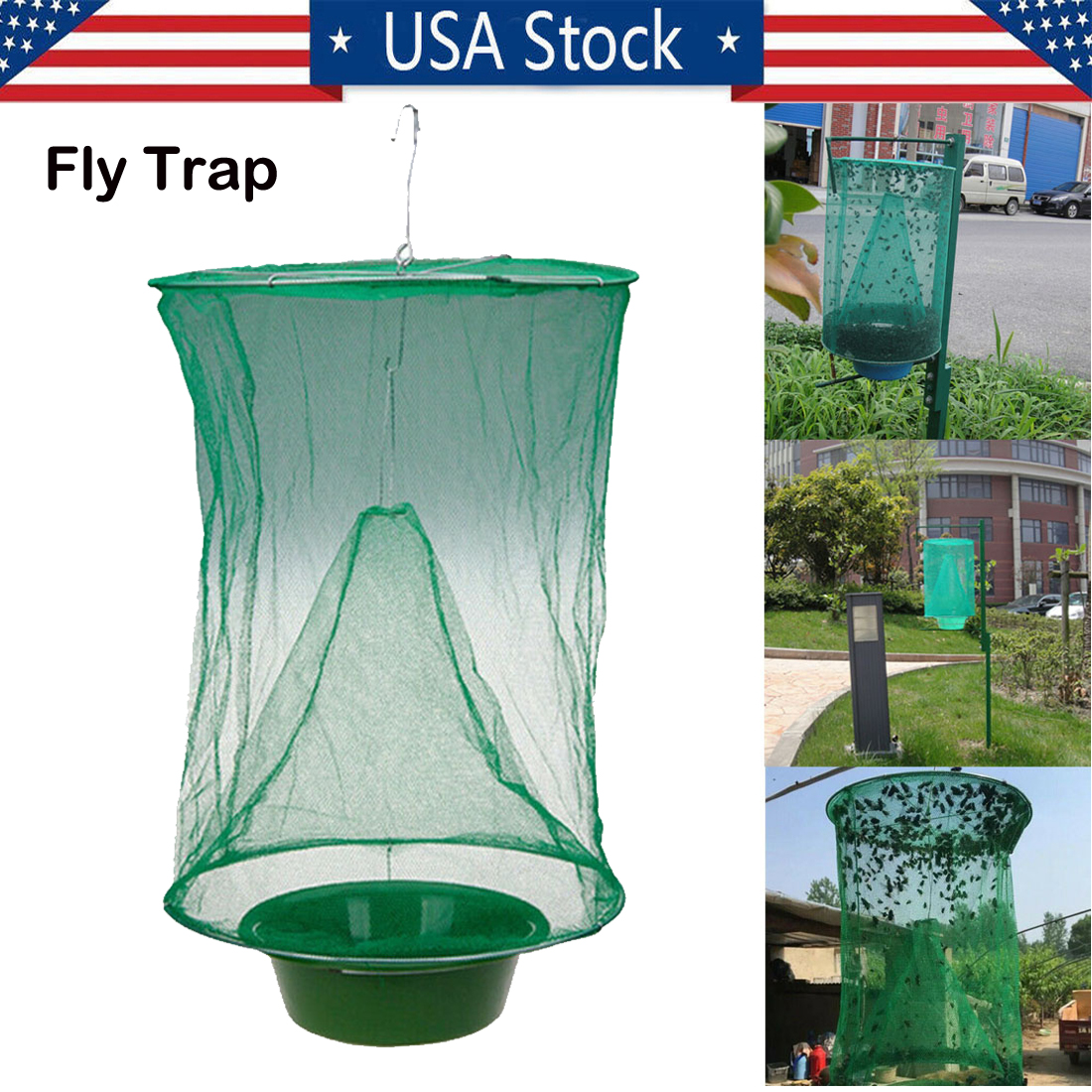Home Furniture Diy Hanging Fly Trap Net Reusable Catcher Plastic Tray Cage Green For Horse Farm Home Furniture Diy Other Home Furniture Diy