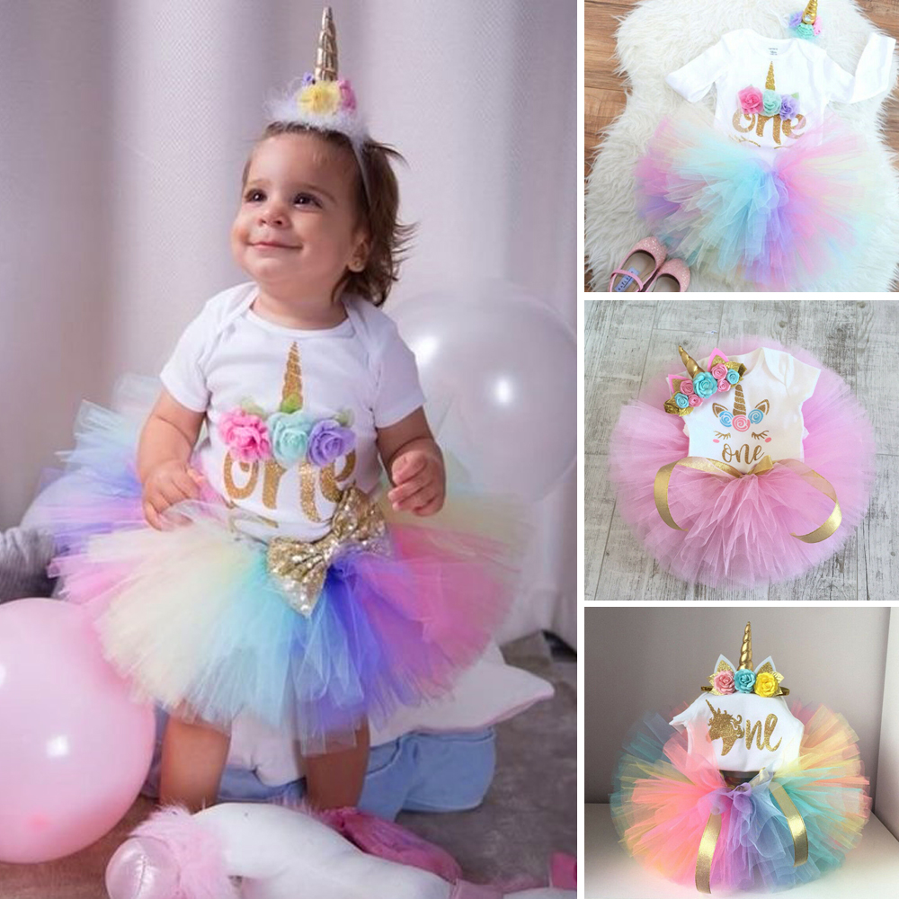 Baby Girls 1st Birthday Party Dress Shirt Tops+Tutu Skirt Outfit Cake Smash 2Pcs