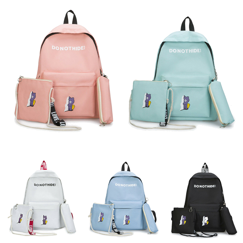 e77071315d35 Details about 3Pcs Set Women Bag Backpack Girl School Shoulder Bag Rucksack  Canvas Travel Bags