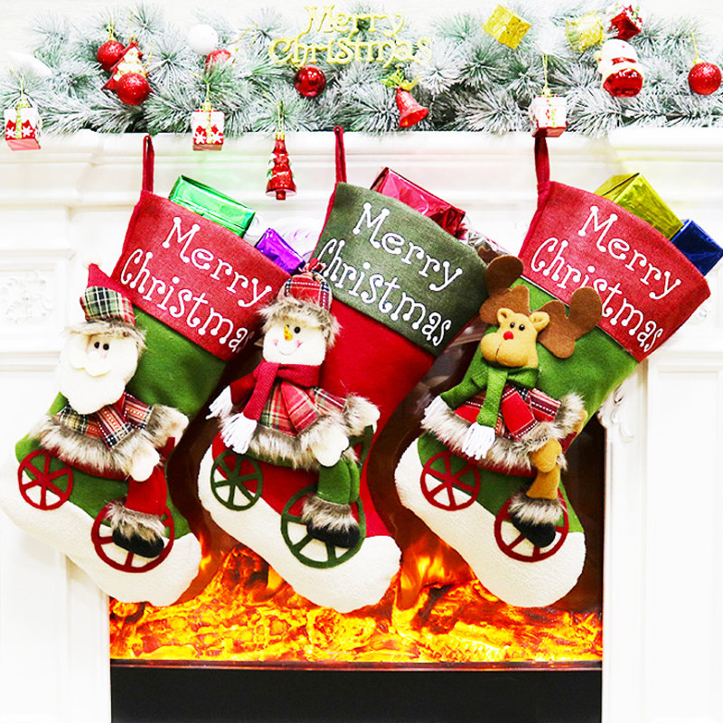 Details About Christmas Socks Santa Claus Candy Gift Bag Bottle Cover Xmas Tree Hanging Decor