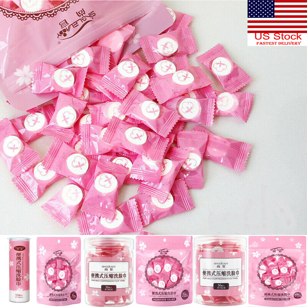 100Pcs Mini Portable Disposable Compressed Towels Face Washcloth Camping Travel