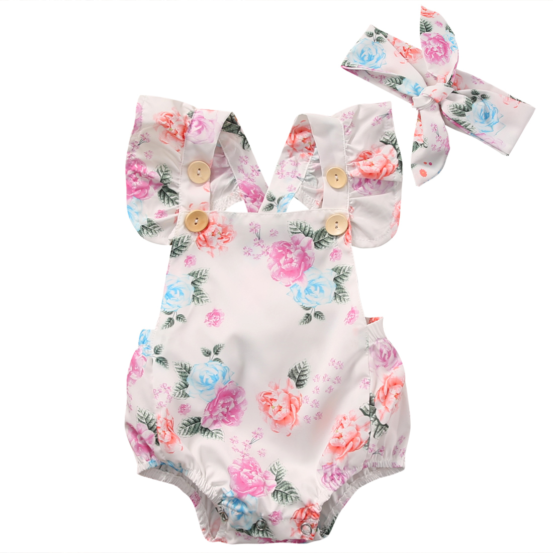 Toddler Kid Baby Girl Clothes Floral Jumpsuit Romper Bodysuit+Headband Outfit US