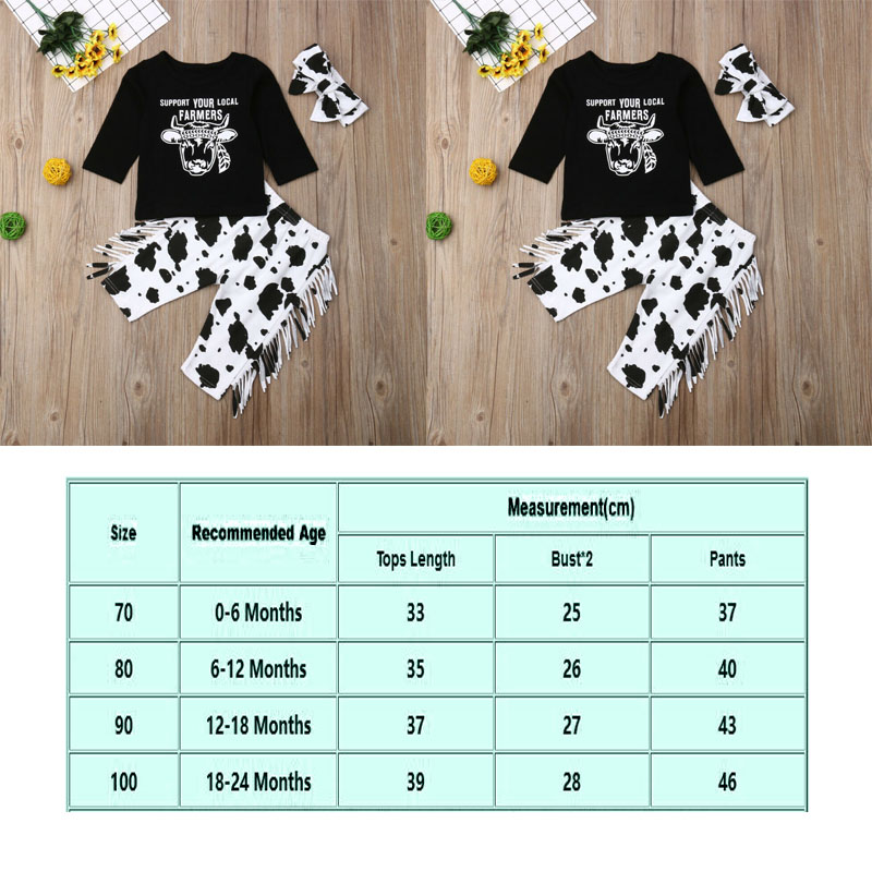 US STOCK Newborn Toddler Baby Girl Boy Cow Tops Long Pants Outfit Clothes 3PCS