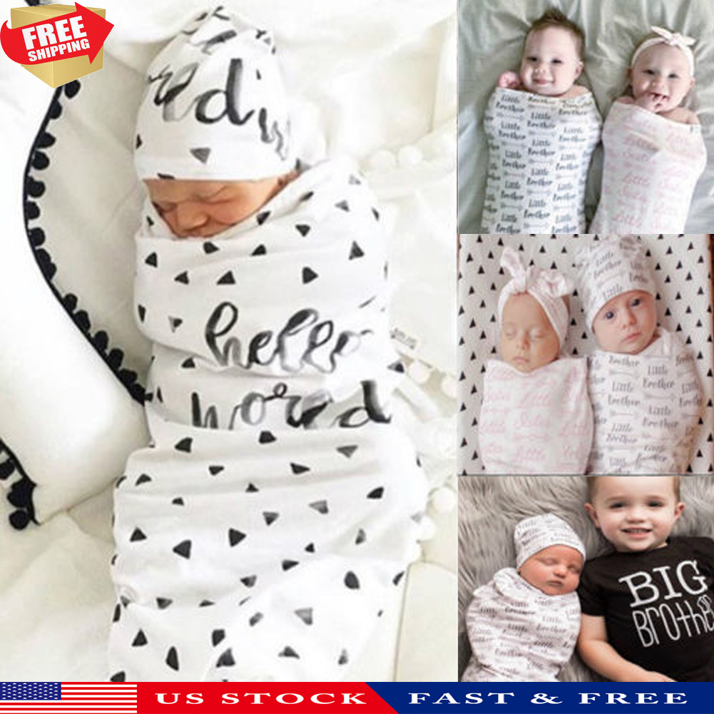 2Pcs Newborn Baby Girl Little Sister Swaddle Wrap Blanket Sleeping Bag Sleepsack