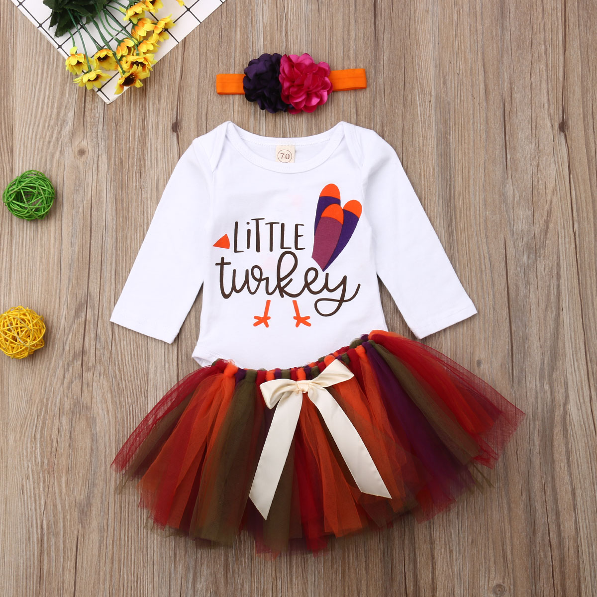 Baby Girls My first Halloween /& Little Turkey Fancy Romper Dress Costume 0-24m