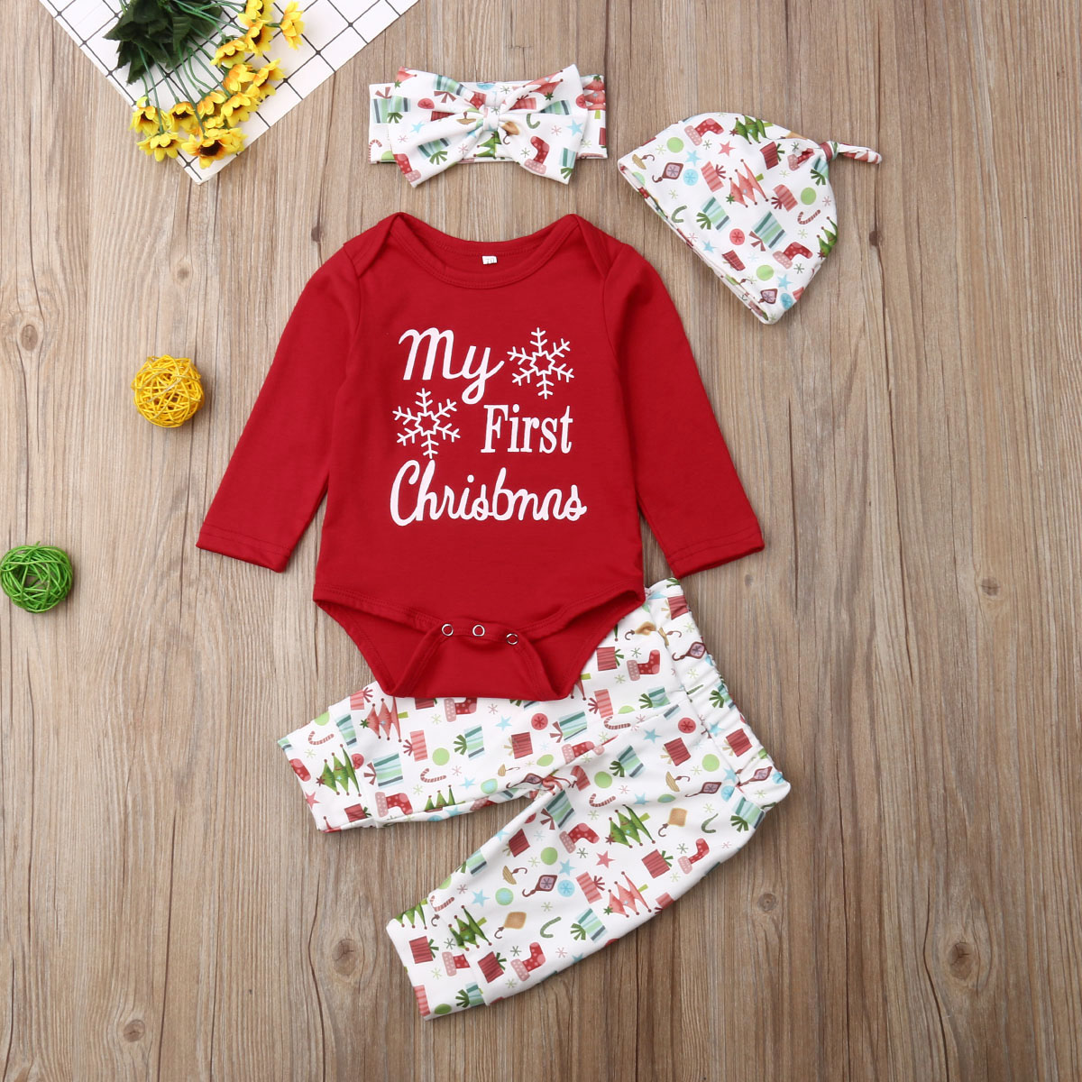 Newborn Christmas Outfit Girl.Details About New Baby Boy Girl Newborn First Christmas Clothe Romper Pant Hat Outfit 4pcs Set
