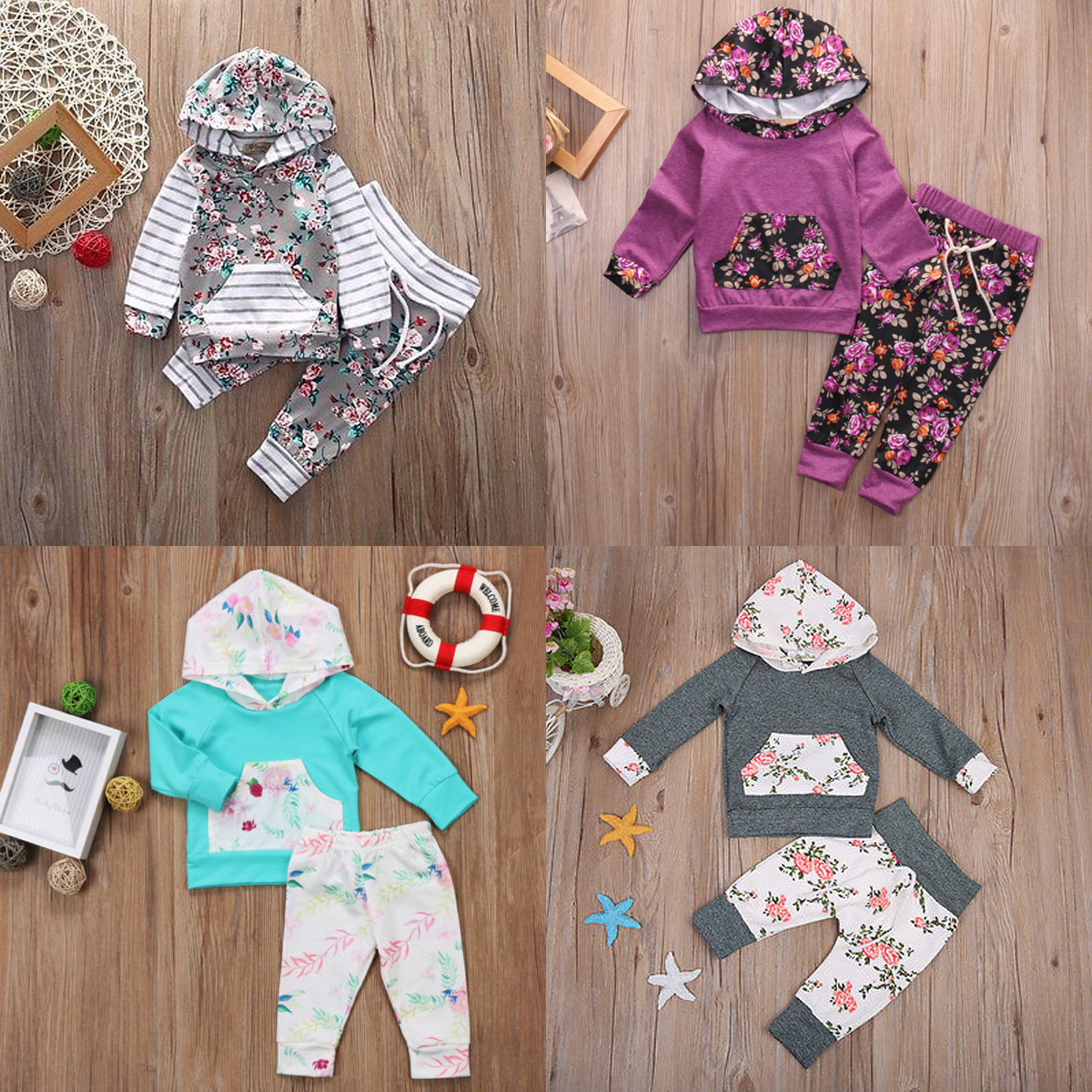 USA Newborn Boy Girl Floral  Hooded Tops T-shirt+Pants Sweatsuit Outfits Clothes
