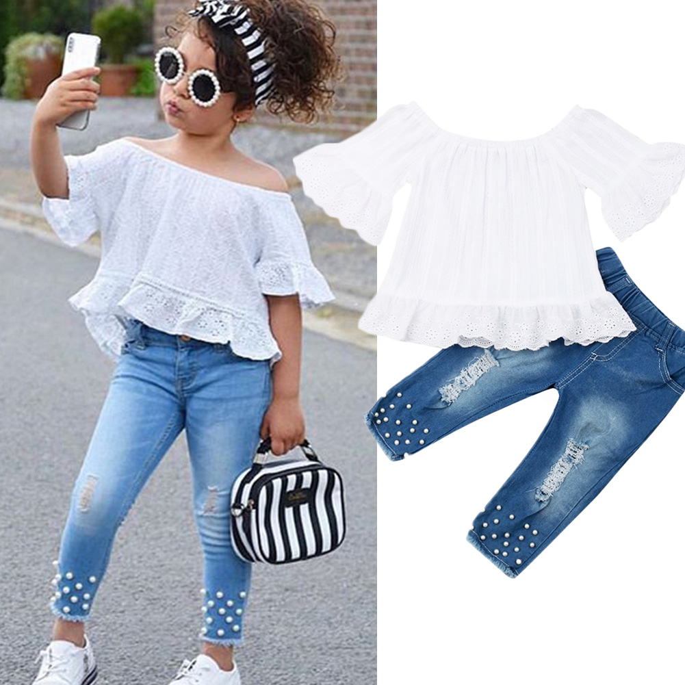 US Toddler Baby Kids Girls Outfit Off Shoulder Shirt Top+Jeans Pants Clothes Set
