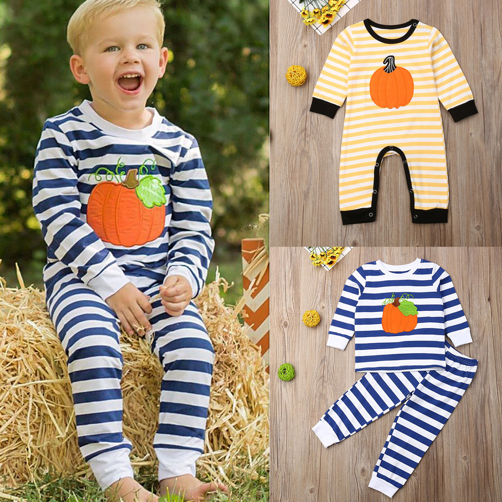 US Newborn Toddler Baby Boy Outfits Clothes Tops Romper Pants Halloween Costumes
