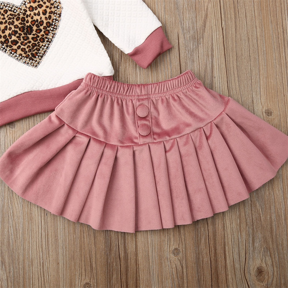 US 2PCS Baby Girl Toddler Kids Shirt Top Velvet Pleated Skirts Outfits Clothes