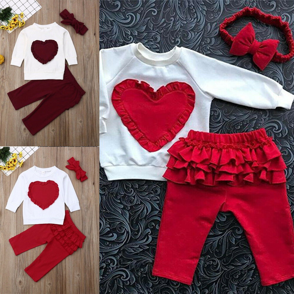Headband 3PCS//Set KW Infant Kids Baby Girls Outfit Clothes T-shirt Tops+Shorts