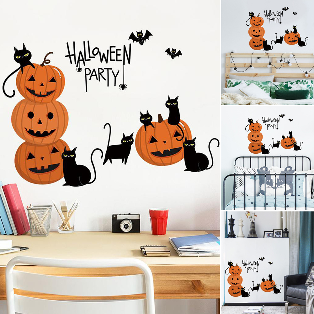 Halloween Calabazas Con Gato De Pared Calcomanias Wallpaper Miedo