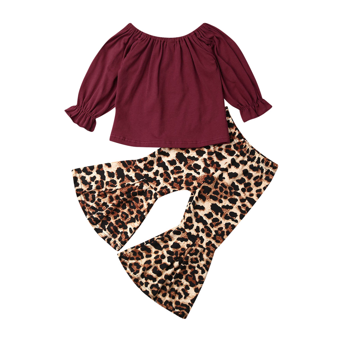 US Toddler Baby Girl Cotton Tops T-shirt Floral Pants Bell Bottom Outfit Clothes