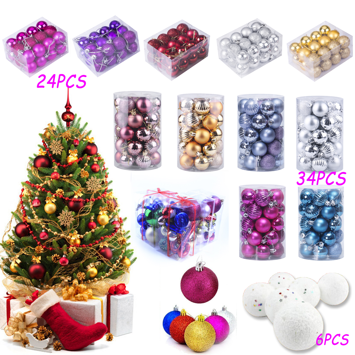 Details About Us Stock Christmas Tree Ball Baubles Decoration Xmas Party Ornament Sequin Decor