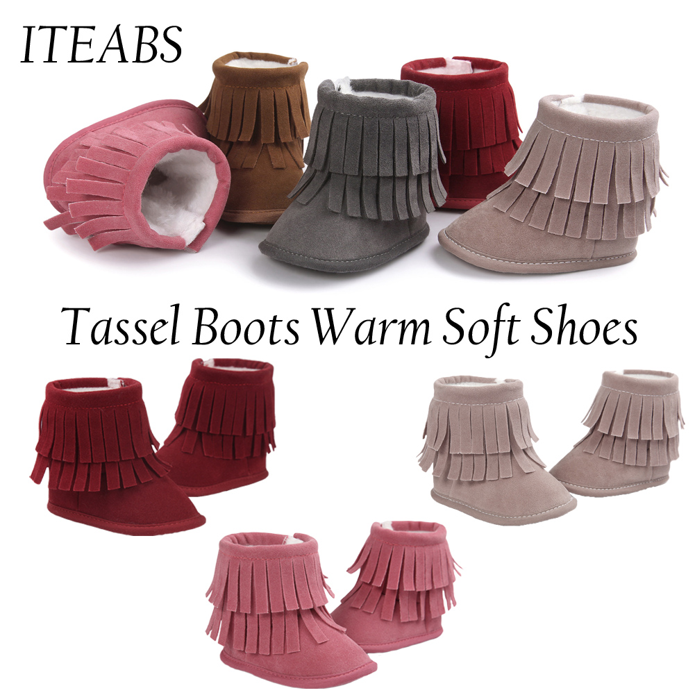 Newborn Baby Soft Sole Leather Shoes Toddler Infant Boys Girls Tassel Boots New