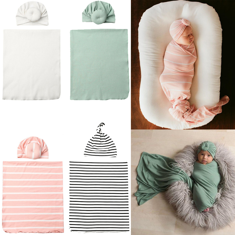 2Pc//Set Newborn Cotton Swaddle Blanket Baby Cocoon Sleeping Bag Muslin Wrap Hat