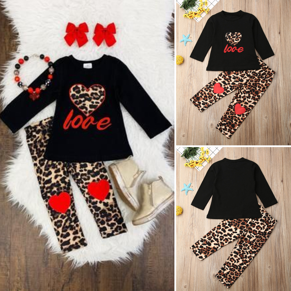 Toddler Kids Baby Girl Outfit Clothes T-shirt Tops+Ripped Legging Pants 2PCS Set