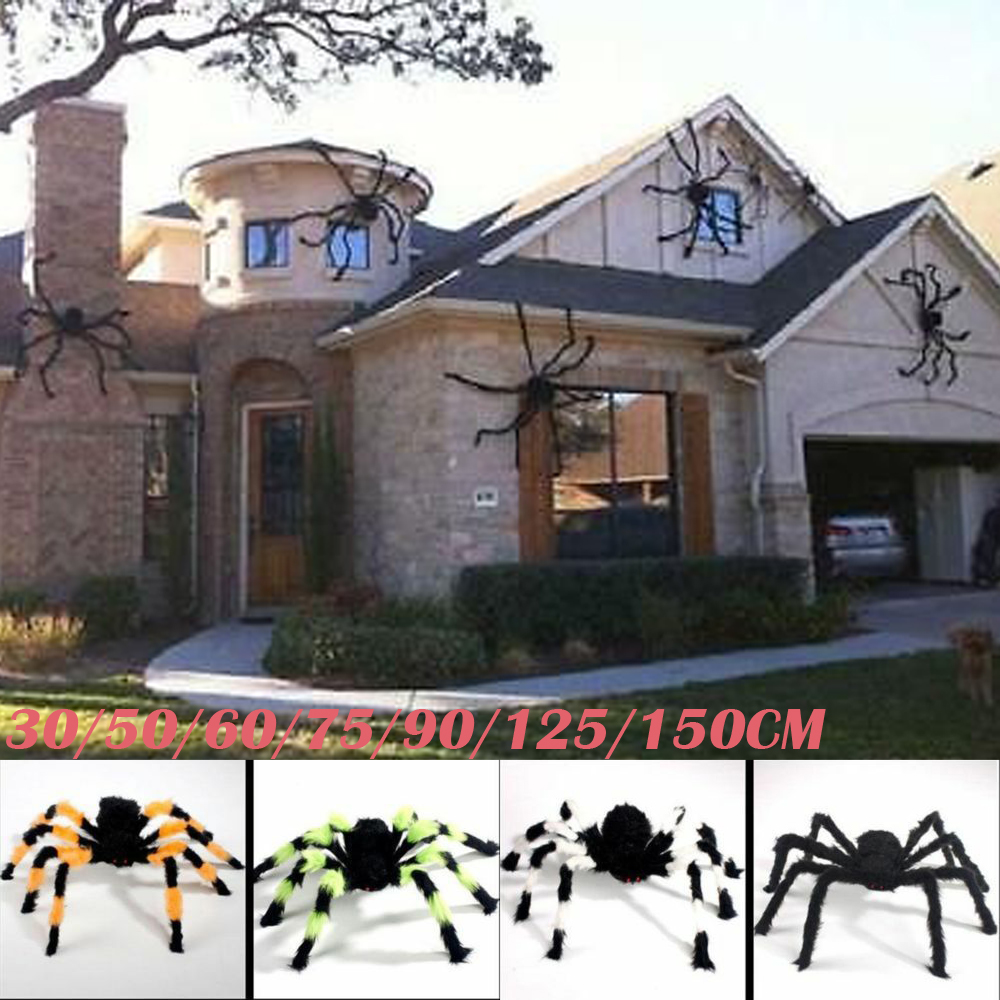 Details about 5FT/150CM Hairy Giant Spider Decoration Halloween Prop  Haunted House Party Decor