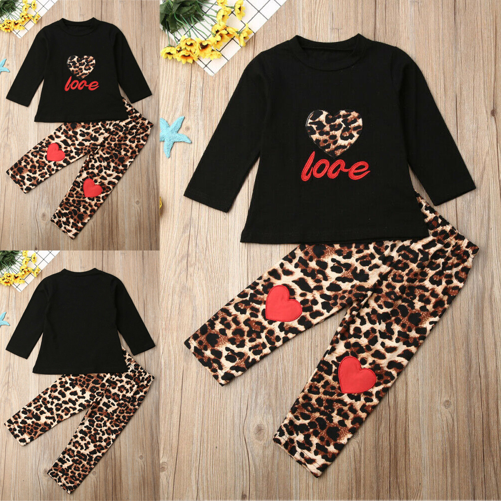 Kids Toddler Baby Girls T-shirt Tops Long Pants Outfits Fashion Leggings Clothes