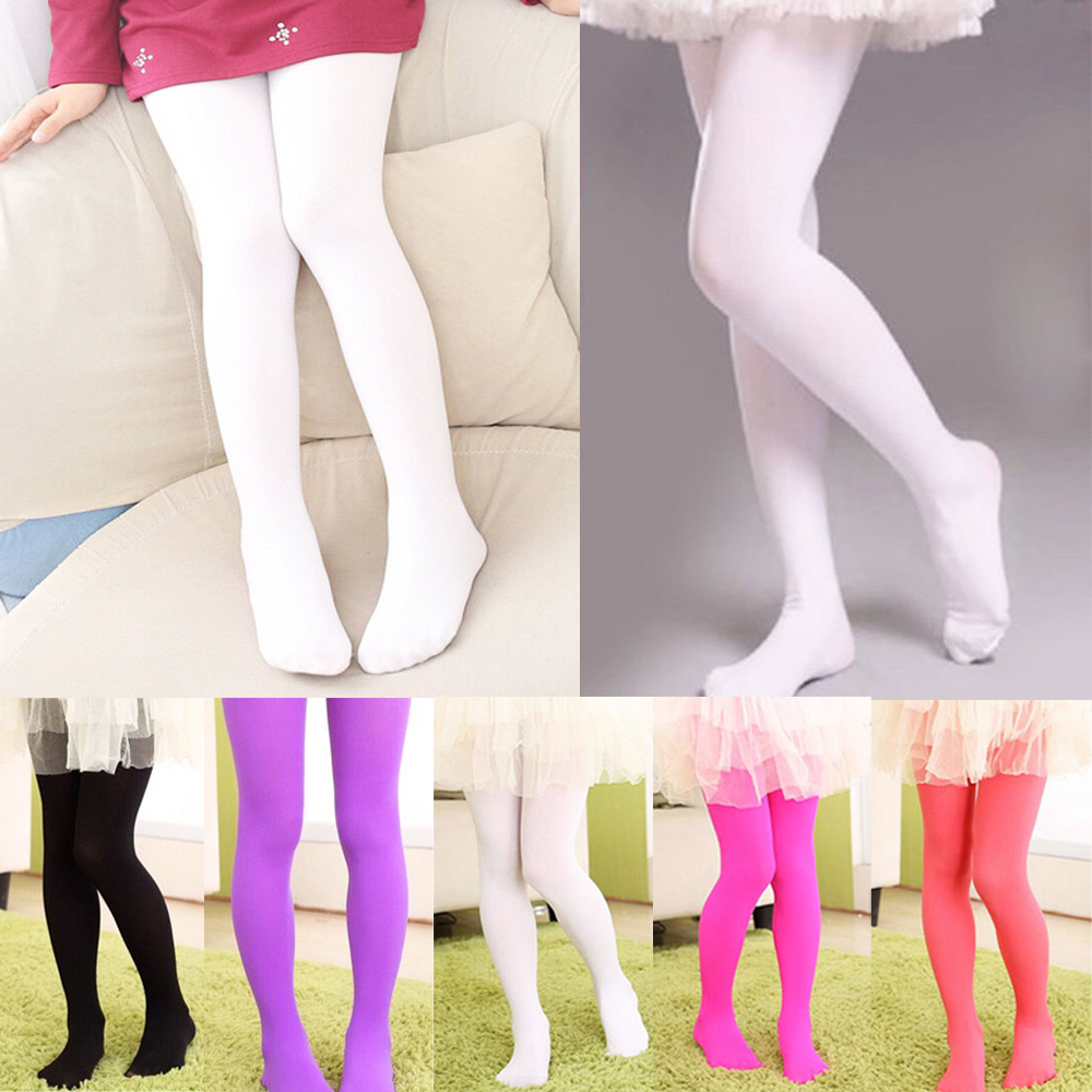Girls Tights Kids Hosiery Opaque Solid Colors