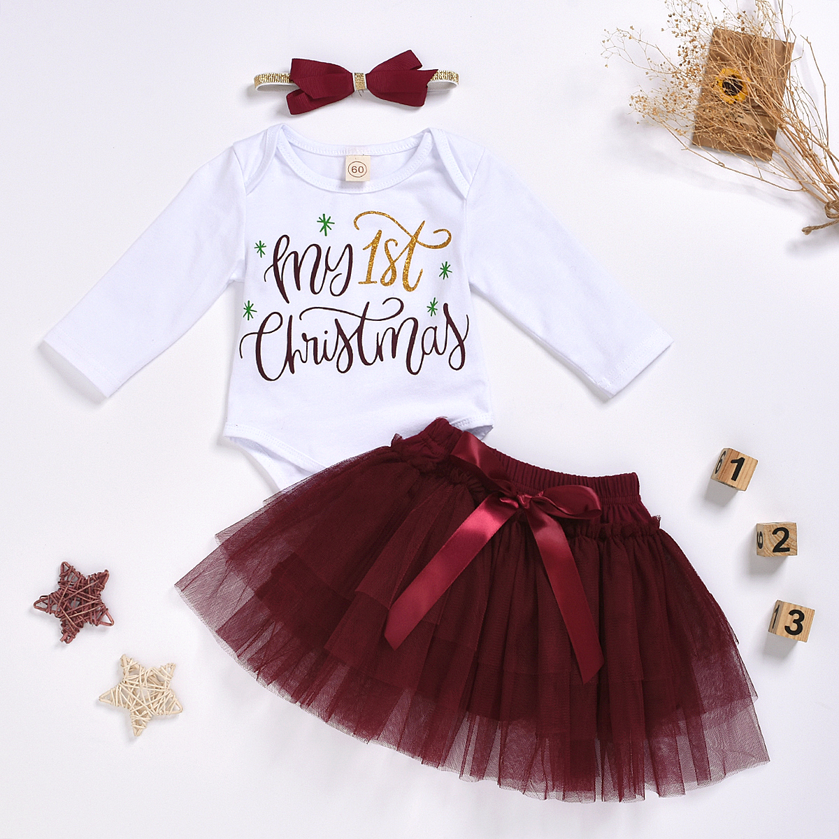 2019 My 1st Christmas Baby Girls Party Outfits Tops Romper+Tutu Skirt Clothes UK