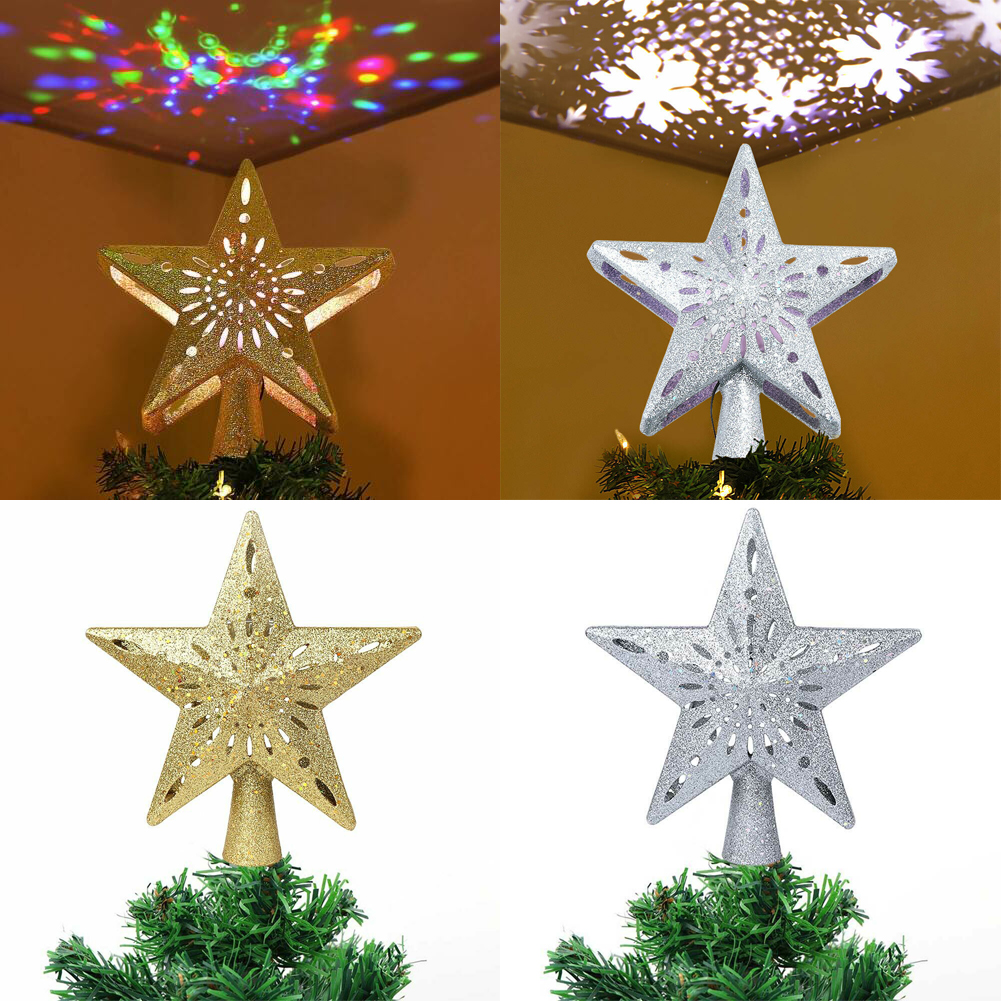 Christmas Tree Topper Gold Star Snowflake Projection Home Ornaments Xmas De O9C8