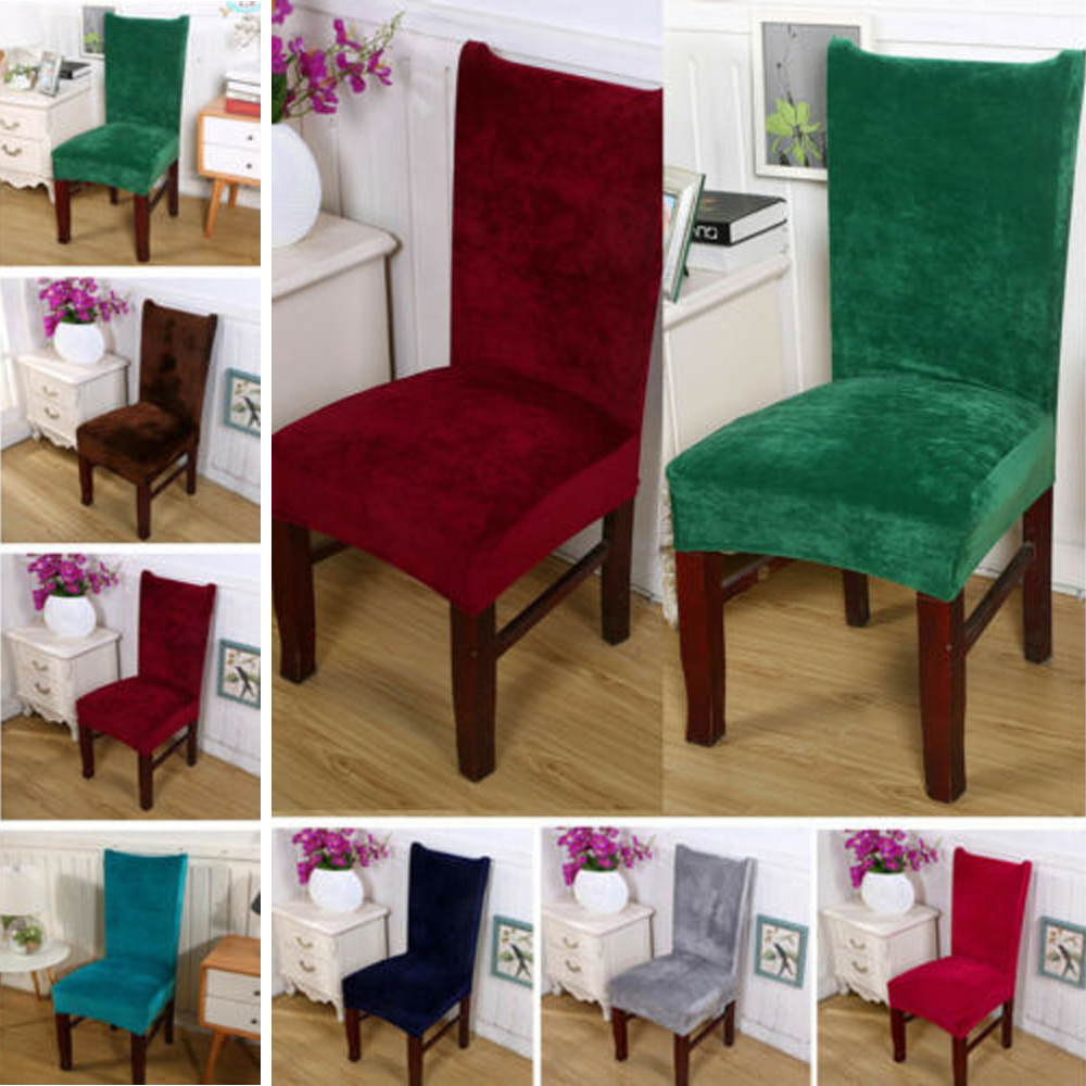 New Stretch Fox Velvet Fabric Dining Room Wedding Kitchen Home Chair Seat Covers