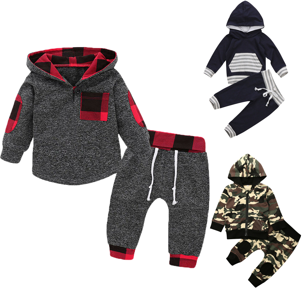 2PCS Toddler Baby Boy Girl Long Sleeve T-shirt Tops+Pants Outfits Clothes Set US