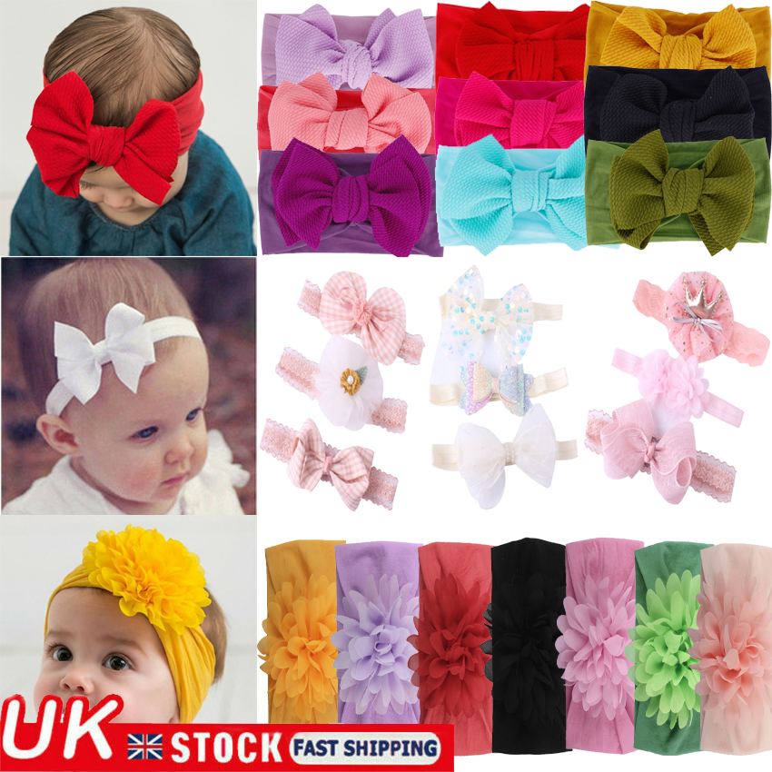 UK Cute Kids Girl Baby Toddler Crochet Bow Headband Hair Band Accessories Winter