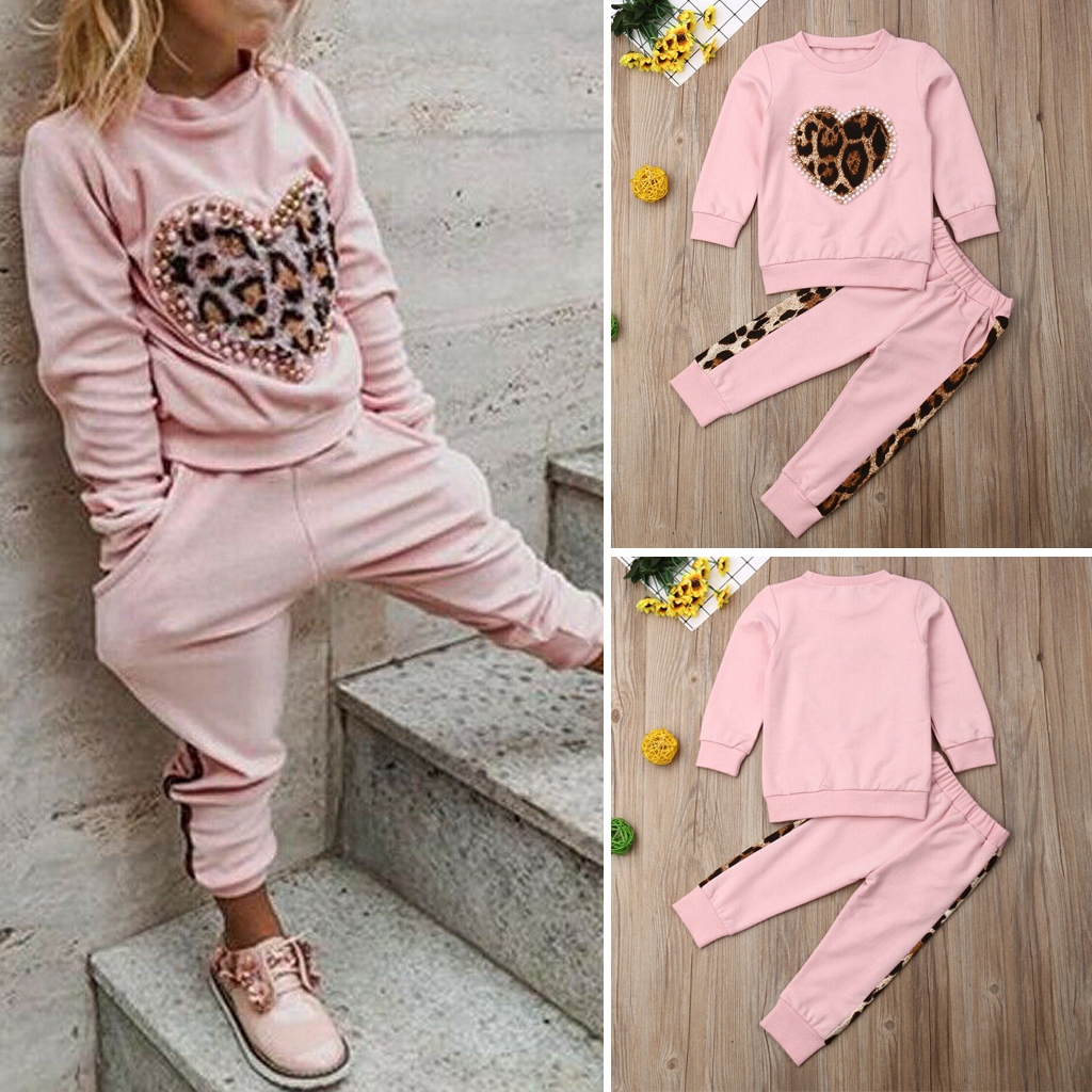 Toddler Kids Baby Girls Tracksuit Leopard Tops Pants Leggings Outfits Clothes UK