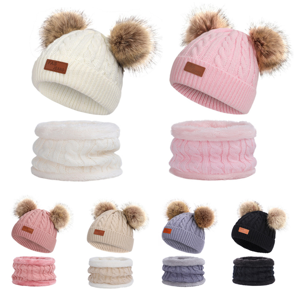 2PCS Toddler Baby Boys Girls Winter Hat and Scarf Cap With Scarf Knitting Set