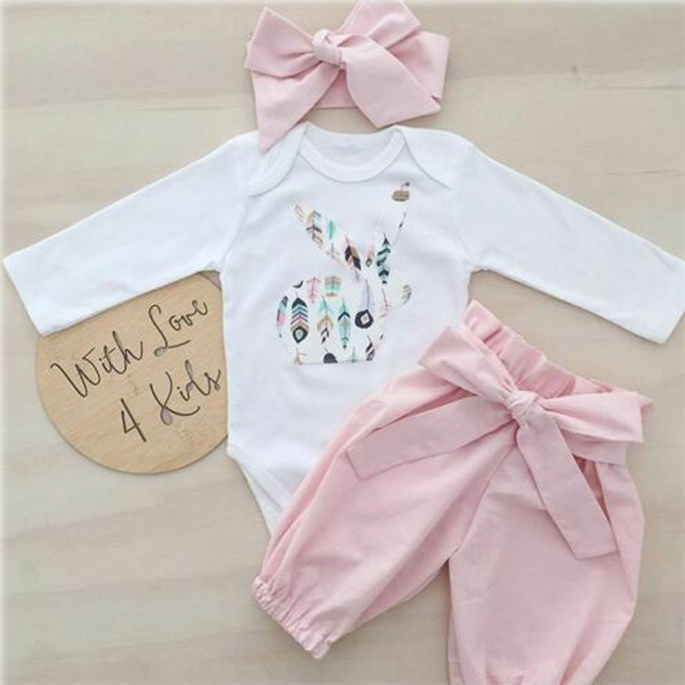 US Newborn Kid Baby Girl Easter Bunny 3pcs Clothes Romper Tops Pants Outfits Set