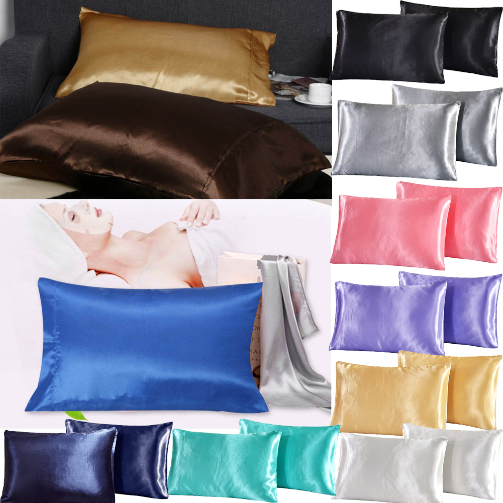 UK 2X PILLOW CASE LUXURY CASES SILK HOUSEWIFE PAIR PACK BEDROOM CUSHION COVER