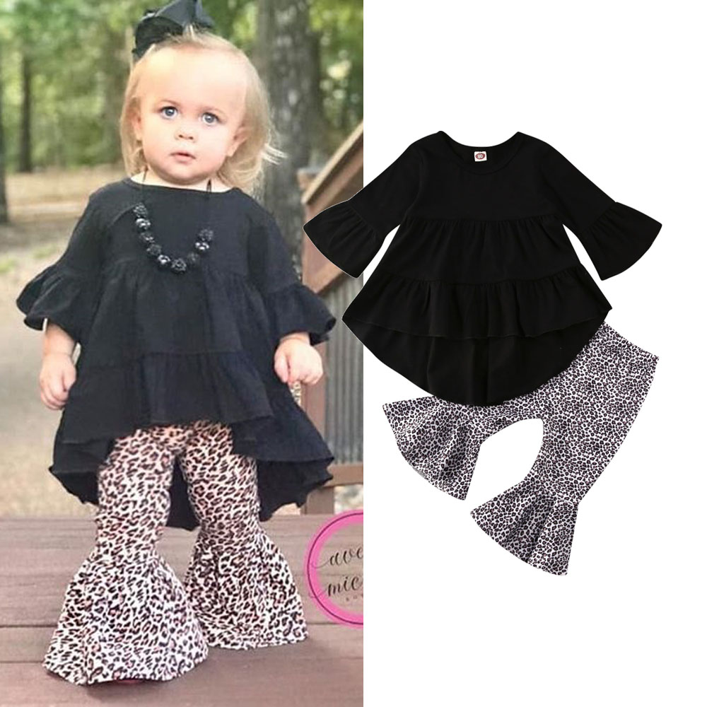 US Stock Toddler Baby Girls Tops T-shirt Long Pants Leggings Outfit Set Clothes