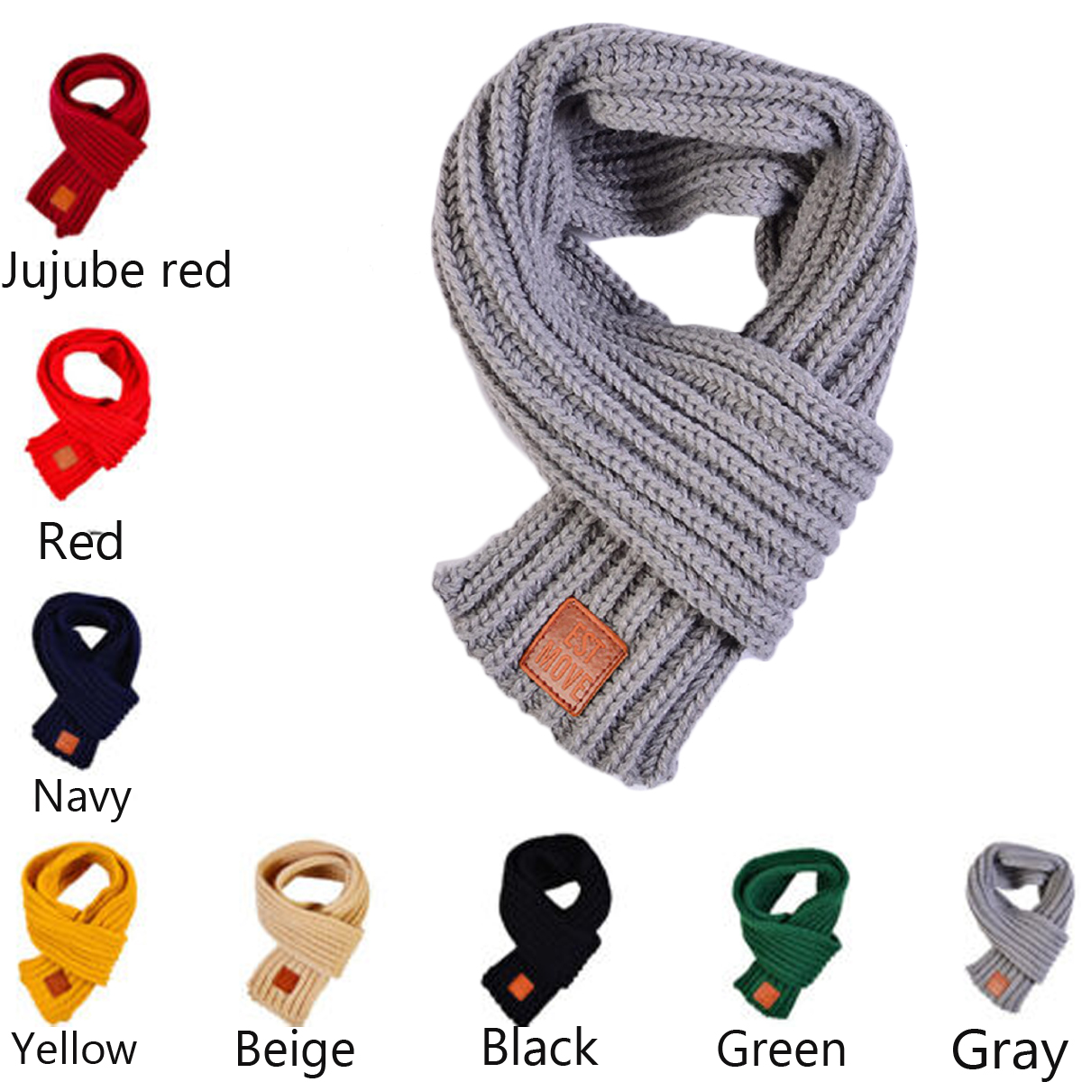 Boy Girl Baby Winter Solid Scarf Warm Knitting Wool Wraps Child Neck Warmer New