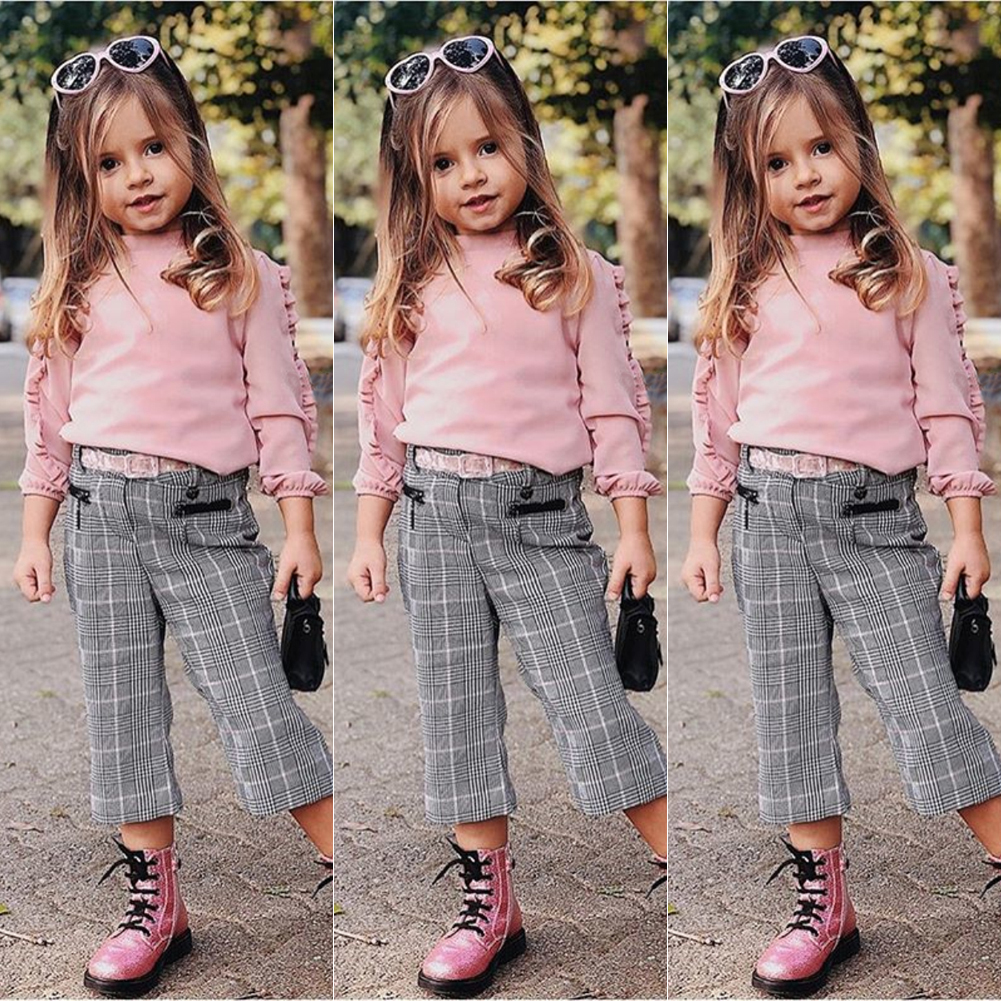 US Toddler Kids Baby Girl Ruffle Plaid Tops Pants Leggings 2Pcs Outfits Clothes