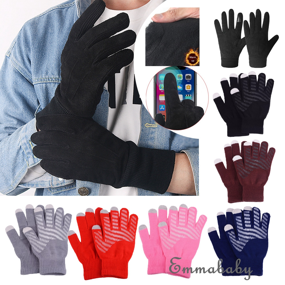 Men Winter Warm Stretch Touchscreen Gloves Windproof Synthetic Leather Mittens S