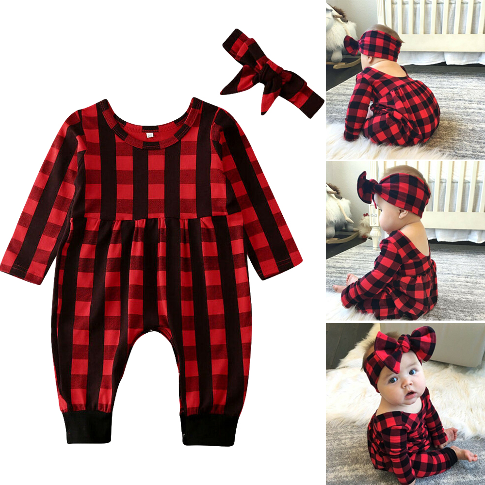 2PCS Newborn Baby Boy Girl Plaid Romper Jumpsuit Toddler Xmas Outfit Clothes+Hat