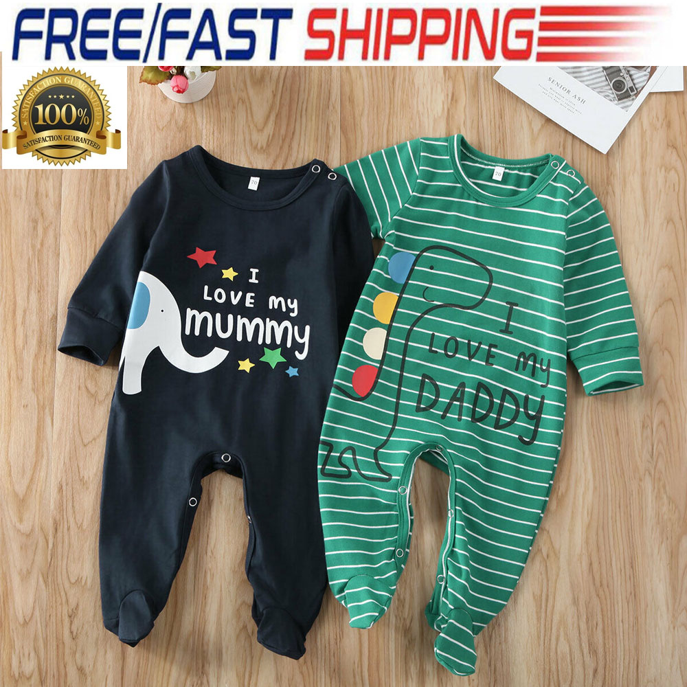 New born Infant Baby Boy Girl Kids Romper Jumpsuit Cotton Bodysuit Clothes US
