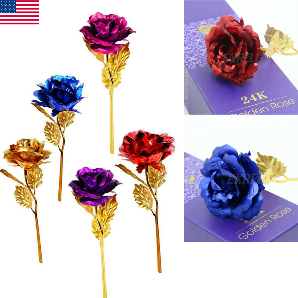 24k Gold Plated Red Rose Flowers Anniversary Mothers Day Girlfriend Gift