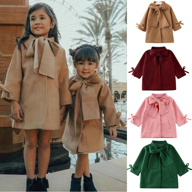 Baby Girls Kids Winter Warm Sweater Bowknot Princess Top Shirt Clothes Outerwear