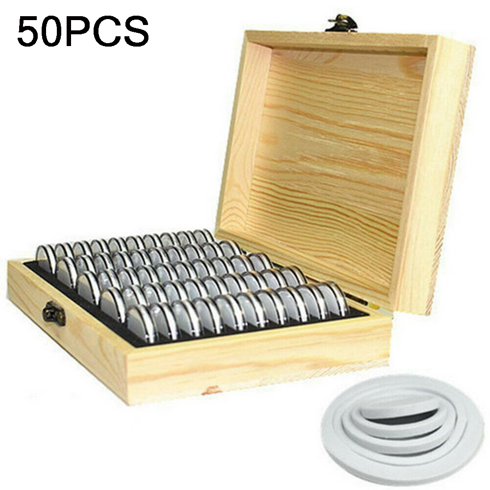 100Pcs Round Wood Coins Display Storage Box Collectible Case For Certified Coin