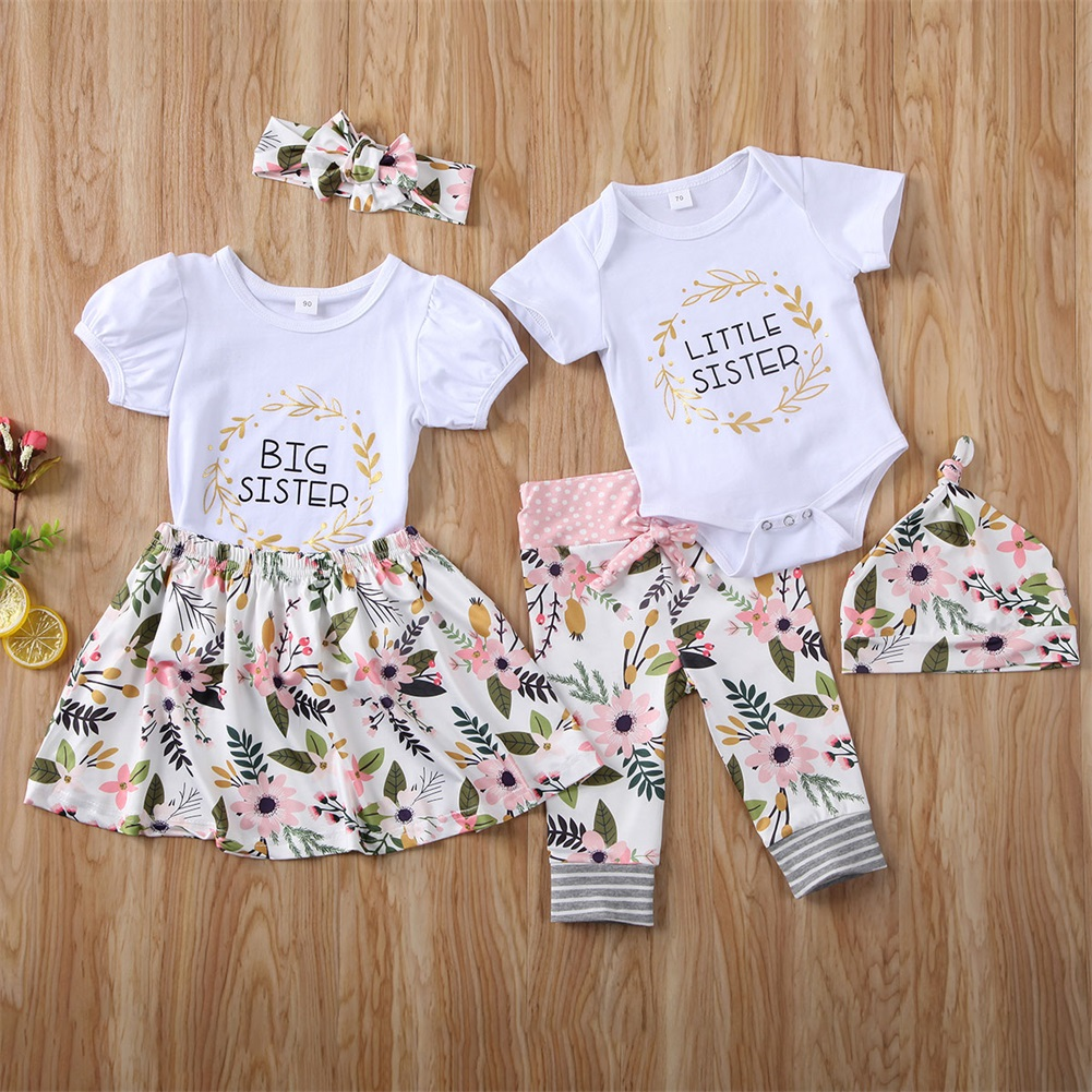 Floral Skirt Clothes Set Toddler Baby Girls Sister Matching Outfits Big Kids Little Big Sister Long Sleeve Top Romper