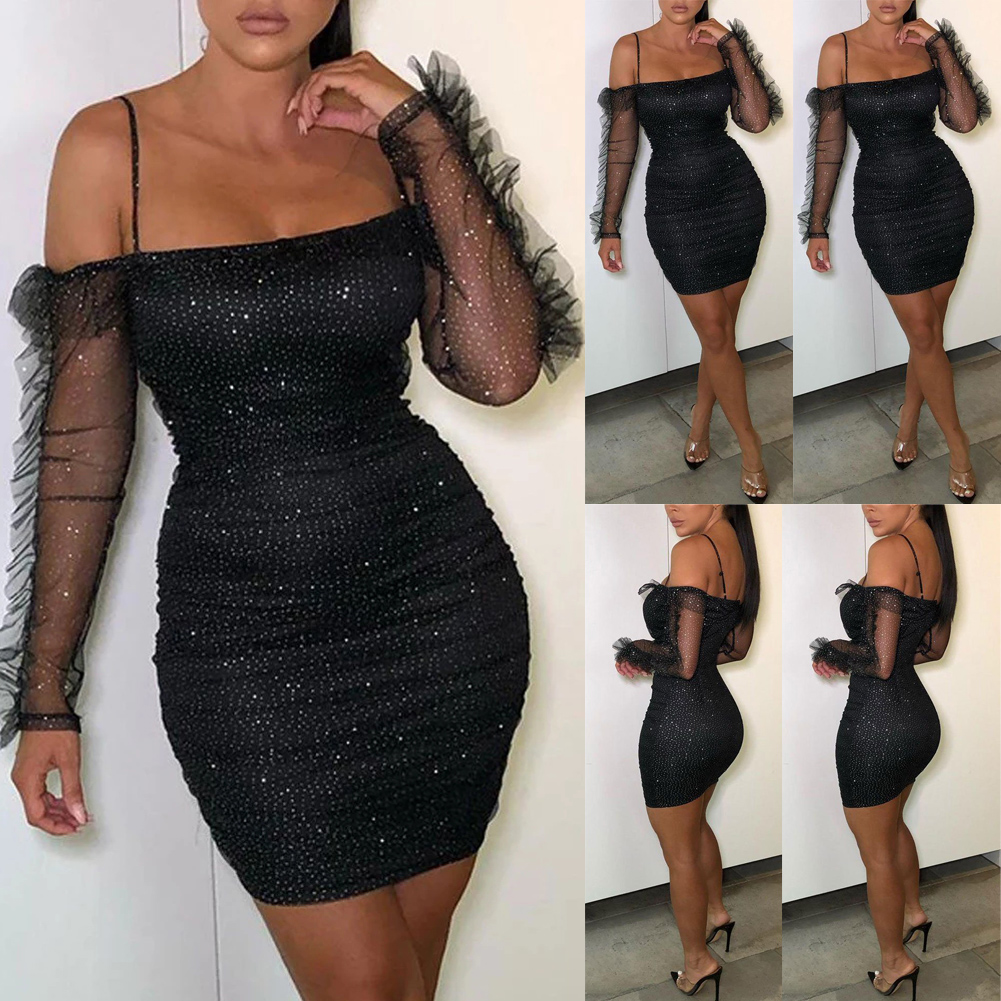 USA Women Bandage Body con Long Sleeve Evening Party Coctail Club  Mini Dress